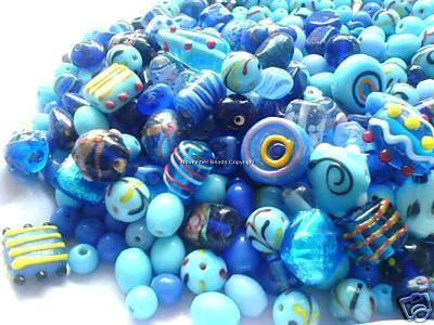 Blue ASSORTED FANCY BEAD MIX Lampwork Crystal Czech Glass Lucite Acrylic Wood Metal