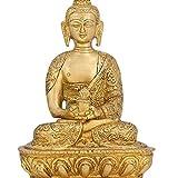 Meditation Buddha Sculpture Dhyan Mudra Buddhist Décor Brass 7 Inch
