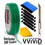 Knifeless Vinyl Wrap Cutting Tape Finishing Line 10M Plus 3M Toolkit (BluSqueegee,YlwSqueegee,5xBlckFlt&Knf)