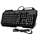 TOMOKO Waterproof Wired Mechanical Gaming Keyboard with 104 Keys, Multi-color LED Backlight Mechanical Keyboard, Blue Switches, Fit for Gamers, Typists, Black