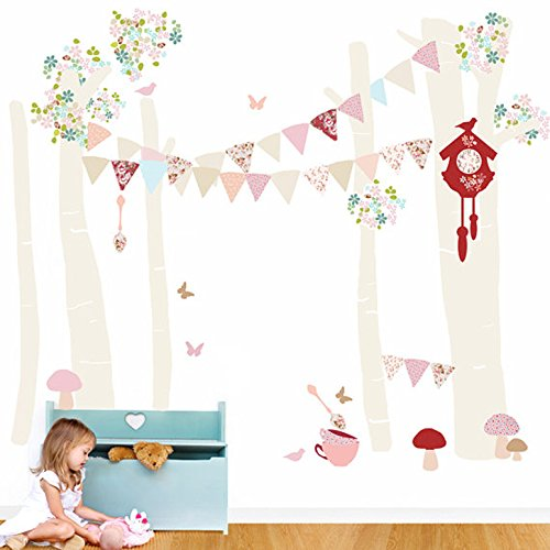 "Oopsy Daisy Birch Tree Forest Vintage Girl Peel and Place, Neutral/Pastel/Pink, 54"" x 60"""