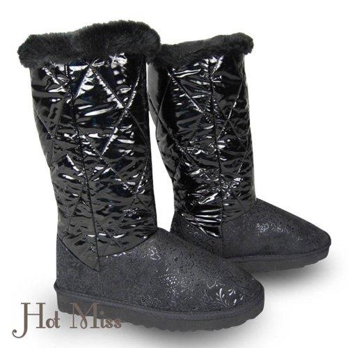Winterstiefel gefüttert - Tolle Verzierung auf dem Spann Schaftoberfläche in Textil innen sehr warm und kuschelig schwarz 37
