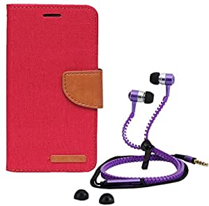 Aart Fancy Wallet Dairy Jeans Flip Case Cover for MicromaxA104 (Red) + Zipper Earphones/Hands free With Mic *Stylish Design* for all Mobiles- computers & laptops By Aart Store.