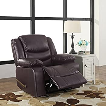 Bonded Leather Recliner Living Room Rocker Chair