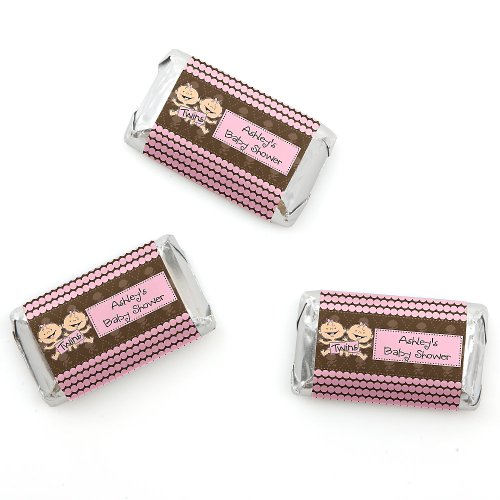 Twin Modern Baby Girls Caucasian - Personalized Baby Shower Mini Candy Bar Wrapper Favors - 20 Ct front-766681