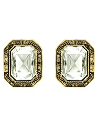 Donna Fashion White Edgy Square Stud Gold Plated Earrings With Crystals For Women ER30097G