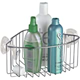 InterDesign Reo Power Lock Suction Bathroom Shower Corner Caddy Basket for Shampoo, Conditioner, Soap - Stainless Steel