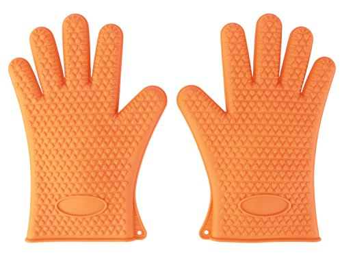100% Silicone BBQ Gloves -Use As Heat Resistant Pot Holders / Oven Mitts / Kitchen, Grill, Cooking Gloves/ For Everything High Temp. Use Frovix (Tm) Gloves (Orange)