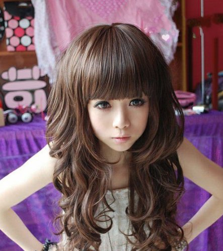 Taobaopit Curly Long Ladies Sexy Women's Wave Full Wigs Party WIG (Dark Brown)