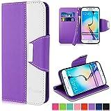 Vakoo Coque Galaxy S6 Edge [Magnétique Fermoir] Etui Housse pour Samsung Galaxy S6 Edge - Violet / Blanc
