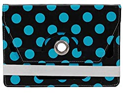 Jkobi Premium Leather Tablet Book Flip Case Cover For Lenovo Idea Tab A3000 (Universal)-Skyblue Polka Design