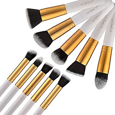 Makeup Brushes, USpicy 10-Piece Professional Cosmetics Make up Brush Set with Gift Box Kits (White)