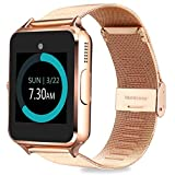 MyTECH Z60 Smart Watch Bluetooth Steel Strap Touchscreen with Camera, Watch Phone Sim Card Slot,Smart Wrist Watch,Smartwatch Phone Compatible Android Samsung iOS Phone XS X8 Men Women Kids (Gold) (Color: Gold)