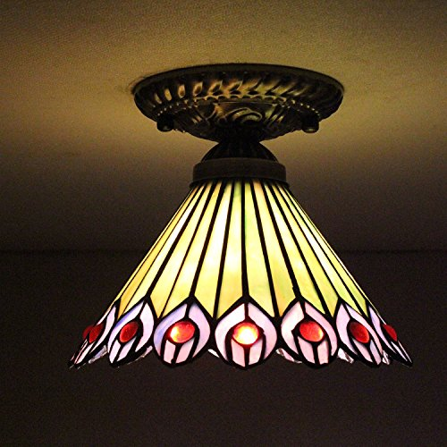8-inch Vintage Pastoral Stained Glass Tiffany Peacock Ceiling Light Living Room Chandelier Hallway Chandelier