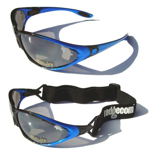 Blue Ladgecom All-Weather Sunglasses & Goggles with Head Strap for Cycling, Running & Ski Sports