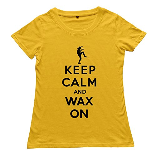 Hoxsin Yellow Women'S Keep Calm Wax Fashion 100% Cotton Tshirts Us Size Xl