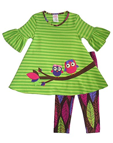 Peaches N Cream Molly & Millie Girls 4-6X Lime Owl Leaf Print Leggings Outfit, 6 front-987652