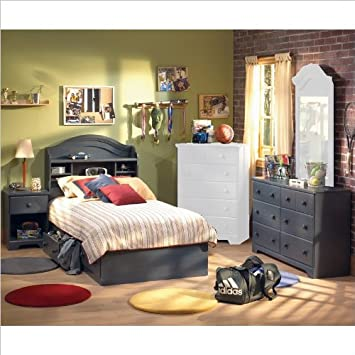 Antique Blue Kids Twin Wood Captain's Bed 4 Piece Bedroom Set