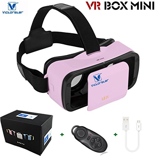 VICTORSTAR @ VR BOX MINI with Remote Controller, VR MINI 3D Glasses Helmet, VR Glasses, Portability 174g with Adjustable Pupil and Focal Distance For 4.5 to 5.5 Inch Smartphones (Pink)