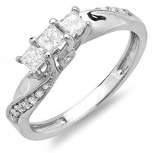 0.50 Carat (ctw) 10k White Gold Princess and Round Diamond Ladies 3 Stone Swirl Engagement Bridal Ring 1/2 CT (Size 7)