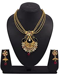Vk Jewels Wedding Collection Gold Brass Alloy Necklace Set For Women Vknks1201G
