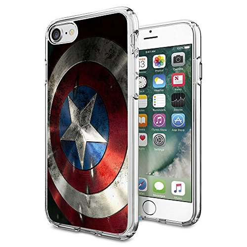 Captain America iPhone 7 Case, Onelee [Never fade] winter soldier Clear TPU Soft Rubber Case for regular iPhone 7 4.7