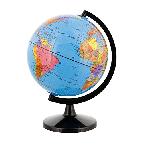 "TCP Global 6"" (14.2cm) Blue Ocean Desktop World Globe Black Base - 1"