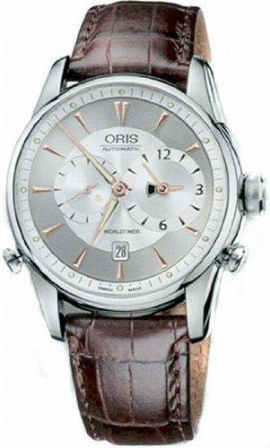 Oris Men's 690 7581 4051LS Artelier Worldtimer Silver Dial Watch