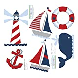 Nautical Decal Stickers Red White Blue Boy Wall Graphics. Sailing Ocean Vinyl Mural Sticker Decals for Children's, Nursery & Baby's Room Decor, Baby Walls, Boys Bedroom Decorations. Boat, Whale, Light House, Life Preserver Child's Murals Party Decoration