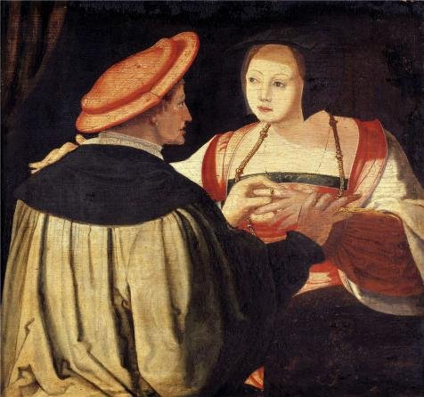 The High Quality Polyster Canvas Of Oil Painting 'Lucas Van Leyden (Copy After) - The Engagement, 16th Century' ,size: 8x9 Inch / 20x22 Cm ,this Amazing Art Decorative Canvas Prints Is Fit For Basement Gallery Art And Home Decoration And Gifts