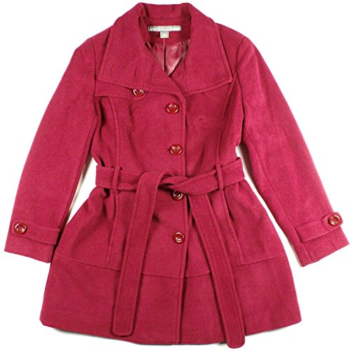 Womens Kenneth Cole Reaction Wool Blend Belted Pea Coat Red Small