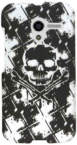 Cell Armor Motorola Moto X Deluxe Snap On Case - Retail Packaging - Transparent Design Skull On Black/White