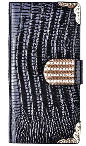 Mylife Ebony Black - Chrocodile Design - Textured Koskin Faux Leather (Card And Id Holder + Magnetic Detachable Closing) Slim Wallet For Iphone 5/5S (5G) 5Th Generation Itouch Smartphone By Apple (External Rugged Synthetic Leather With Magnetic Clip + Int