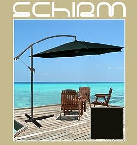 ampelschirm 3m schwarz 12 sonnenschirm schirm kurbel fu gartenschirm anthrazit. Black Bedroom Furniture Sets. Home Design Ideas