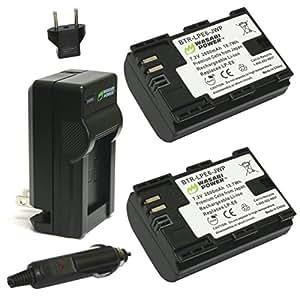 【6ヶ月保証】Wasabi Power Canon キャノン LP-E6 LP-E6N 互換バッテリー 2個 + 充電器 セット 【安心のPSEマーク取得済み】  Canon EOS 5D Mark II, EOS 5D Mark III, EOS 5DS, EOS 5DS R, EOS 6D, EOS 7D, EOS 7D Mark II, EOS 60D, EOS 60Da, EOS 70D
