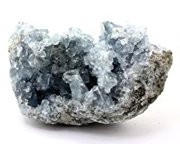 Crystal Allies Specimens: Natural Blue Celestite Crystal Cluster from Madagascar - 1lb to 2lbs