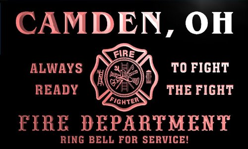 qy62976-r FIRE DEPT CAMDEN, OH OHIO Firefighter Neon Sign