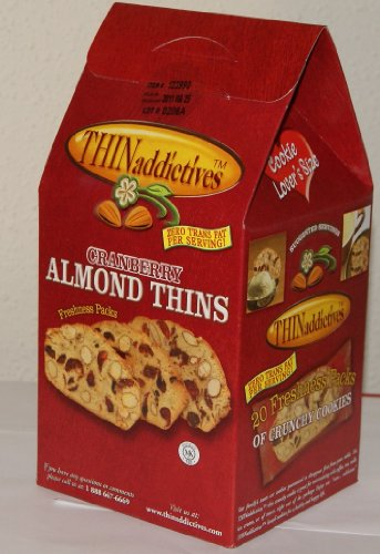 THIN Addictives Cranberry Almond Thins 20 Packs of Crunchy Cookies NET WT 1 Lb (454 g)