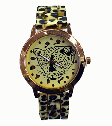 Beautiful Paradise Ladies Leopard Print Silicone Strap Big Round Dial Fashion Watch (Gold)