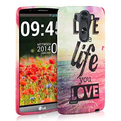 kwmobile CUSTODIA IN TPU silicone per LG G3 S Design Live the Life multicolore fucsia blu - Stilosa custodia di design in morbido TPU