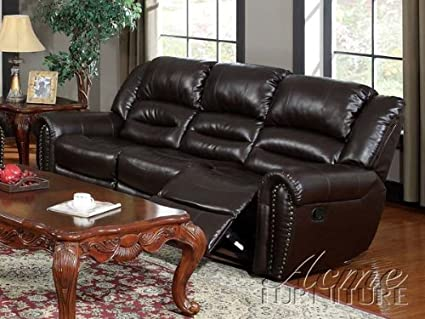 ACME 50285 Ralph Motion Sofa with 2 Recliners, Brown Bonded Leather