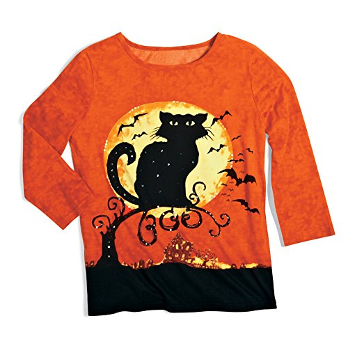 Collections Etc Women's Halloween Cat 3/4 Sleeves Scoopneck Top
