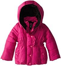 YMI Little Girls39 Toddler Hooded Bubble Fleece Lining Jacket with Ruffled Placket