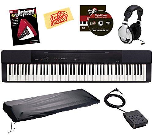Casio Privia Px-150 88-Key Digital Piano Bundle With Gearlux Dust Cover, Cherub Wtb-004 Sustain Pedal, Samson Hp-10 Headphones, Hal Leonard Instructional Book, And Austin Bazaar Polishing Cloth - Black