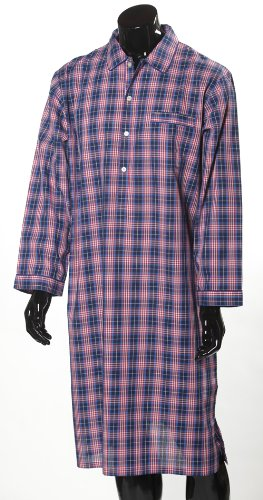 Lloyd Attree & Smith Luxurious Check Nightshirt - Navy and Red