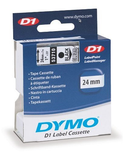 Dymo D-1 Tape, 1 Inch, Black Clear, 1/Box (53710)