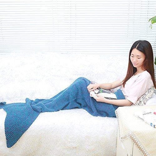 Meerjungfrau Schwanz Decke von okayshop, warm Sofa Wohnzimmer All Season Stricken Polyester Decke, Schlafsack für Erwachsene 18080cm & # xff08; 177,8x 78,7cm) blau