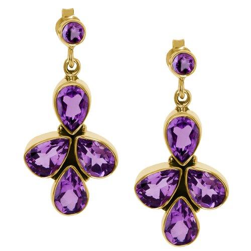 8.66 Ct Pear Shape Purple Amethyst Gold Plated Sterling Silver Earrings
