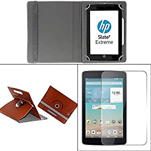Gadget Decor (TM) PU LEATHER Rotating 360° Flip Case Cover With Stand For EVU RK3026 - Brown + Free Tempered Glass Toughened Glass Screen Protector