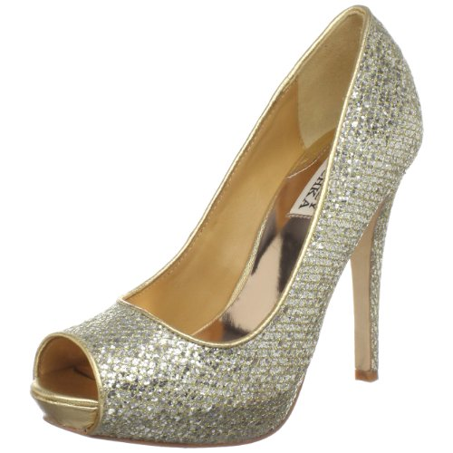 Badgley Mischka Women's Humbie II Pump,Gold Glitter,9 M US
